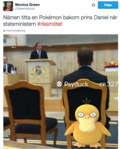 Švedska socijal demokratkinja Monica Green lovi Pokemone